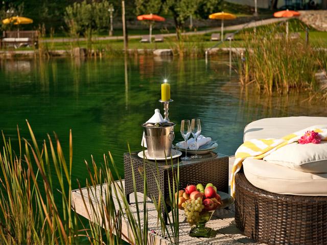 Unser Schwimmteich ist ideal zum Entspannen